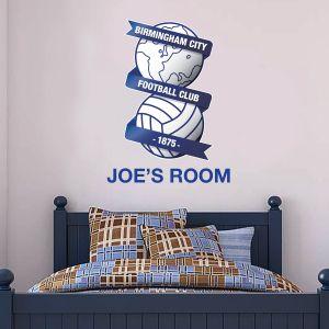Birmingham City F.C. Football Club Crest & Personalised Name Wall Sticker