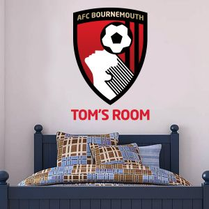 A.F.C Bournemouth Personalised Name & Club Badge Wall Mural + Cherries Wall Sticker Set