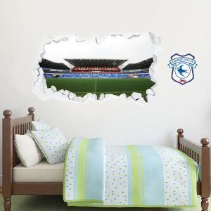 Cardiff City Football Club Smashed Wall Stadium Mural Wall Sticker
