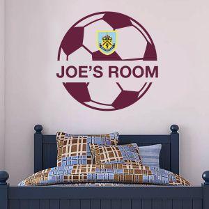 Burnley Football Club Ball Design & Personalised Name Wall Sticker Art + Burnley FC Badge Wall Decal Set