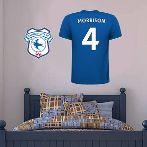 Cardiff City FC - Personalised Football Shirt & Crest Wall Sticker