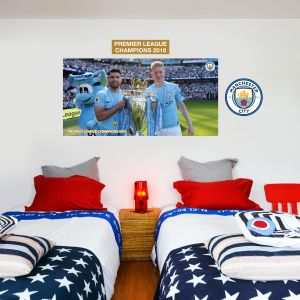 Premier League Champions 2018 - Aguero & Kevin De Bruyne + Wall Sticker Set