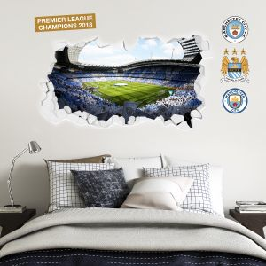 Premier League Champions 2018 - Etihad Smashed Wall Stadium Corner Shot Mural + Wall Sticker Set