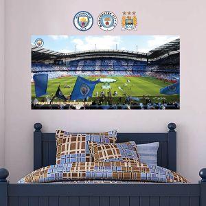 Premier League Champions 2018 - Etihad Stadium Side Shot Wall Mural - Wall Sticker Set