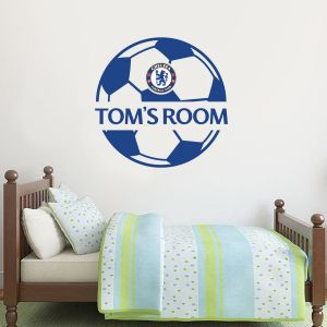 Chelsea Football Club - Ball Design & Personalised Name Wall Mural + Blues Wall Sticker Set