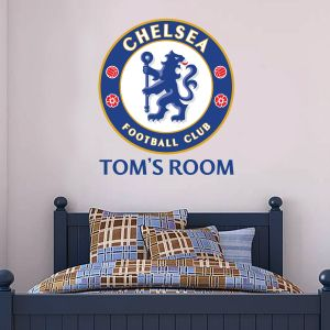 Chelsea Football Club - Crest & Personalised Name Wall Mural + Blues Wall Sticker Set