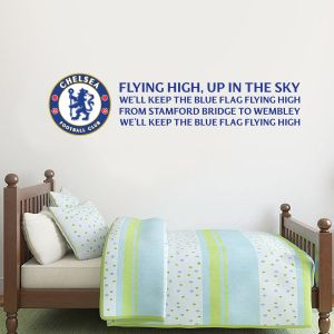 Chelsea Football Club - Crest & 'Blue Flag Flying High' Song Wall Mural + Blues Wall Sticker Set