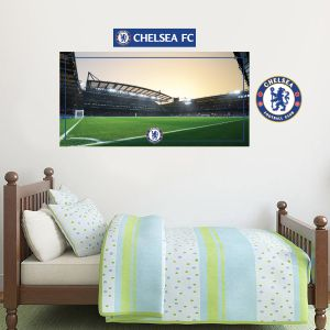 Chelsea Football Club - Stamford Bridge Stadium (Evening) Wall Mural + Blues Wall Sticker Set