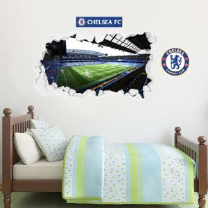 Chelsea Football Club - Smashed Stamford Bridge Stadium Wall Mural + Blues Wall Sticker Set