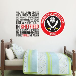 Sheffield United Crest & Fill Up My Senses Song Wall Decal + Official Wall Sticker Badge Set