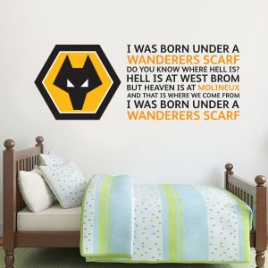 Wolverhampton Wanderers F.C. Crest & Wanderers Scarf Song Wall Sticker + Wolves Decal Set