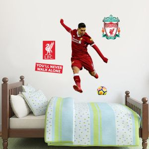 Liverpool FC - Roberto Firmino Shooting Player Decal + LFC Wall Sticker Set