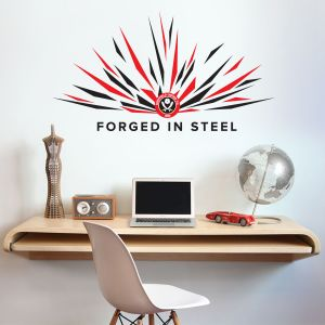 Sheffield United Crest, Spark & 'Forged In Steel' Design Wall Sticker + Official Wall Sticker Badge Set