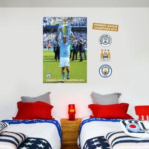 Gabriel Jesus Trophy Wall Mural - Man City Champions 2018 Wall Mural & MCFC Wall Decal Set