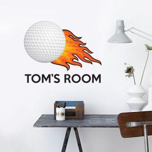Golf Ball & Name Wall Sticker