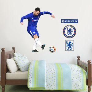 Chelsea FC - Eden Hazard Shooting Player Decal + CFC Wall Sticker Set