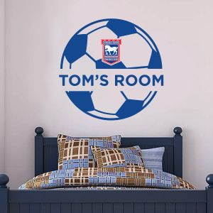 Ipswich Town F.C. - Ball Design & Personalised Name + Blues Wall Sticker Set