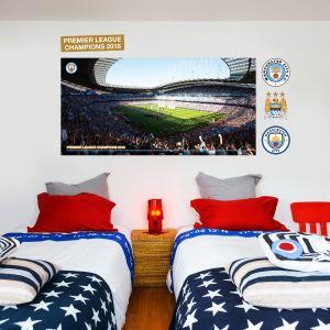 Celebrations Stadium Mural - Man City Champions 2018 Wall Mural & MCFC Wall Decal Set