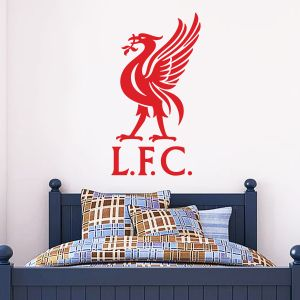 Liverpool Football Club 'LFC' and Liver Bird Crest Wall Sticker & Official Wall Sticker Badge Set