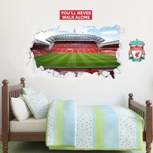 Liverpool Football The Mainstand Anfield Broken Wall Stadium Mural + Wall Sticker Set