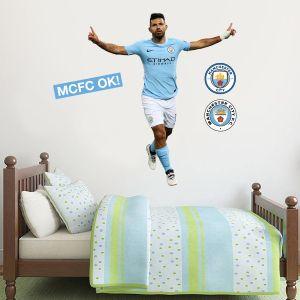Manchester City FC - Sergio Aguero Goal Celebration 2018 Player Decal + Bonus Wall Sticker Set