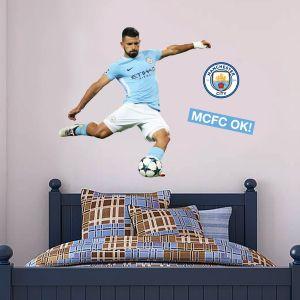 Manchester City FC - Sergio Aguero Shooting 2018 Player Decal + Bonus Wall Sticker Set