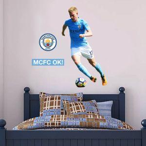 Manchester City FC - Kevin De Bruyne 2018 Player Decal + Bonus Wall Sticker Set
