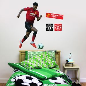 Manchester United F.C. - Marcus Rashford Running Player Decal + Bonus Wall Sticker Set