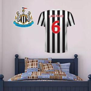 Newcastle United Football Club - Personalised Football Shirt Wall Sticker + Newcastle United Crest Set