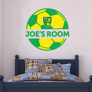 Norwich City FC - Personalised Name & Ball Design Wall Sticker