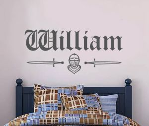 Medieval Knight and Personalised Name Wall Sticker