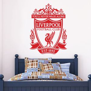 Liverpool Football Club One Colour Crest Wall Sticker & Official Wall Sticker Badge Set