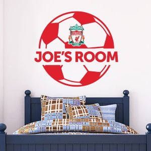 Liverpool Football Club Personalised Name & Ball Wall Sticker Design + Official Wall Sticker Badge Set
