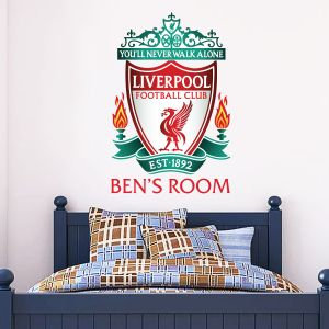 Liverpool Football Club Personalised Name & Crest Wall Sticker + Official Wall Sticker Badge Set
