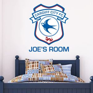 Cardiff City FC - Personalised Name & Crest Wall Sticker