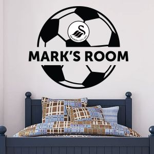 Swansea City Football Club - Personalised Name & Ball Design Wall Sticker Vinyl