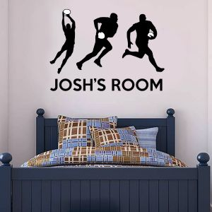 Rugby Players & Name Wall Sticker
