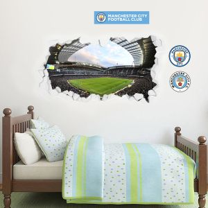 Manchester City Football Club Stadium Smash Wall Mural & Man City Crest Wall Sticker Set