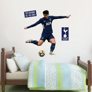 Tottenham Hotspur FC - Son Heung-min Shooting Wall Mural + Spurs Wall Sticker Set