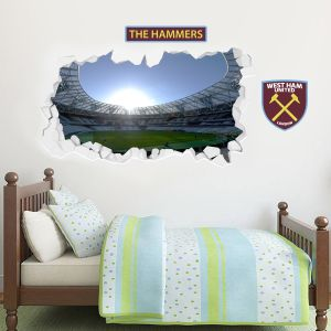 West Ham United Football Club - Smashed London Stadium Wall Mural 1 + Hammers Wall Sticker Set