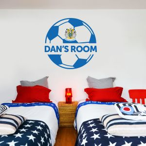 Stockport County F.C. - Ball Design & Personalised Crest + Hatters Wall Sticker Set