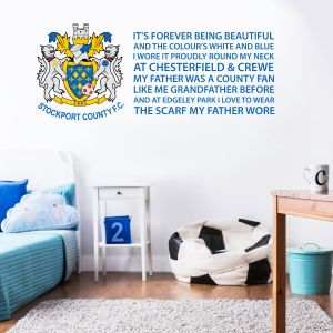 Stockport County F.C. - Crest & 'Scarf My Father Wore' Song + Hatters Wall Sticker Set
