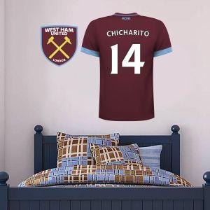 West Ham United Football Club - Personalised Football Shirt Wall Sticker + West Ham United Crest Set