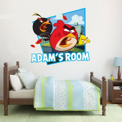 Angry Birds - Red, Chuck & Bomb Personalised Name Wall Sticker (angry)