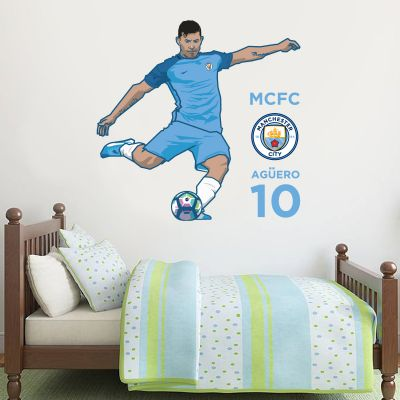 Manchester City Football Club - Sergio Aguero Player Decal + Bonus Wall Sticker Set