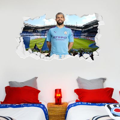 Manchester City Football Club - Kun Aguero Smashed Wall Mural + Bonus Wall Sticker Set