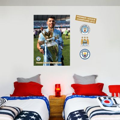 Premier League Champions 2018 -  Aguero Trophy Player Decal + Wall Sticker Set