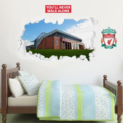 Liverpool Football Smashed Wall Stadium Mural + Wall Sticker Set
