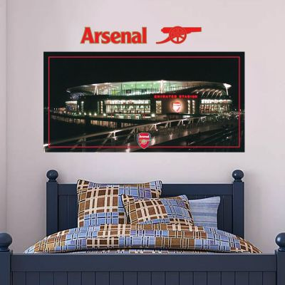 Arsenal Football Club - Emirates Stadium Outside View Mural + Gunners Wall Sticker Set