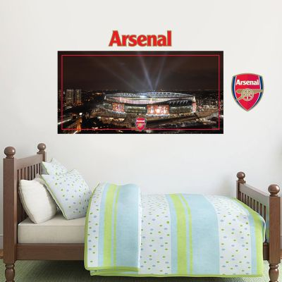 Arsenal Football Club - Emirates Stadium Outside Lights View Mural + Gunners Wall Sticker Set